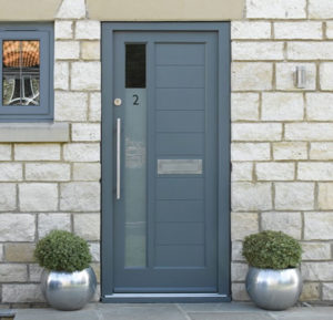 Blue/gray minimalist style exterior door for home.