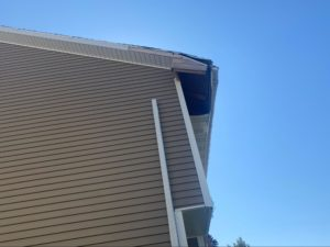Storm damage to gutters