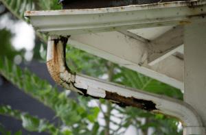 Rusty rain gutters